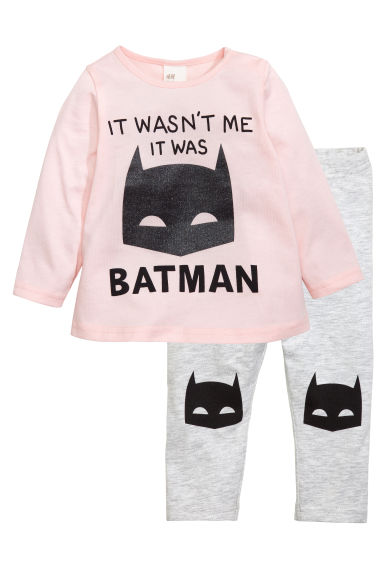 Top and leggings - Light pink/Batman - Kids | H&M CN 1